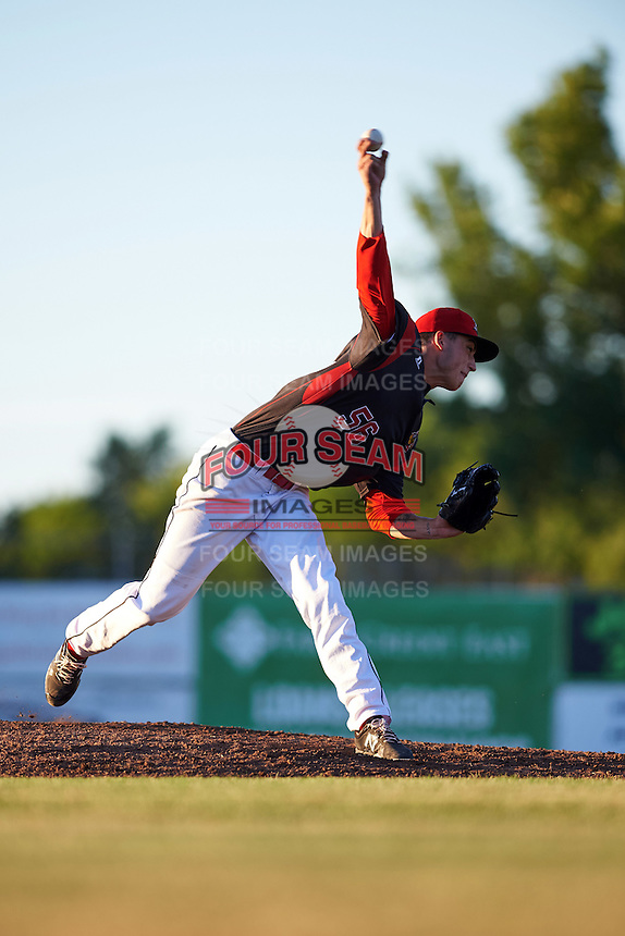 Batavia Muckdogs starting pitcher Jordan Holloway (56) during a game against the West Virginia Black Bears on June 30, 2016 at Dwyer Stadium in Batavia, New York.  Batavia defeated West Virginia 4-3.  (Mike Janes/Four Seam Images)