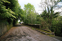 Pictured: The nearby Graig Road where house had to be demolished decades ago. Thursday 31 August 2017<br /> Re: Home owners and tennants have been served to evacuation orders by Neath Port Talbot County Council over fears that a landslip has made their houses unsafe in Cyfyng Road, Ystalyfera, Wales, UK.