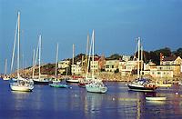Sailboats moored in Rock Harbor, MA