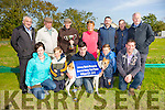 Blades of Music  winner of the Reserve Derby Trial Stake  at Kilflynn Coursing Club on Monday. Pictured l-r Ciara Walsh, Eric Quilter, Eric Jacobson, Cian O'Sullivan and Denis Guiney.Back l-r Brian Divley, Paul Guiney, Donie Walsh, Mary Guiney, Mike Kerins, Tommy O'Sullivan and Dj Histon