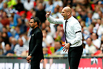 Reading manager Jaap Stam shouts ahead of Huddersfield Town manager David Wagner during the SkyBet Championship Play Off Final match at the Wembley Stadium, England. Picture date: May 29th, 2017.Picture credit should read: Matt McNulty/Sportimage