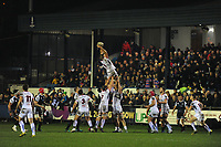 Alan O'Connor of Ulster claims the lineout during the Guinness Pro14 Round 15 match between the Ospreys and Ulster Rugby at Morganstone Brewery Field in Bridgend, Wales, UK. Friday 15 February 2019