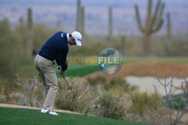 Martin Kaymer (GER) in action on the 1st hole during the Quarter Final Matches on Day 4 of the Accenture Match Play Championship from The Ritz-Carlton Golf Club, Dove Mountain, Saturday 26th February 2011. (Photo Eoin Clarke/golffile.ie)