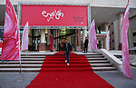 "Palestinians walk on a red carpet during 4th Annual Red Carpet Festival for Human Rights Films in Gaza City on November 26, 2018. The Red Carpet Festival is held in the Gaza Strip for the fourth year in a raw with the Hash-Tag of the festival will be ""enough"". Photo by Ashraf Amra"