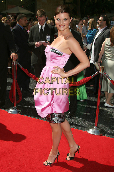 HEATHER TOM.34th Annual Daytime Emmy Awards - Arrivals,.Kodak Theatre, Hollywood, California,.USA, 15 June 2007..Full length pink and black strapless dress hand on hip.CAP/ADM/BP.©Byron Purvis/AdMedia/Capital Pictures.