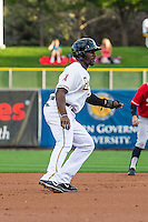 Jared Mitchell (13) of the Salt Lake Bees takes a lead from second base against the Tacoma Rainiers in Pacific Coast League action at Smith's Ballpark on September 1, 2015 in Salt Lake City, Utah. The Bees defeated the Rainiers 10-1. (Stephen Smith/Four Seam Images)
