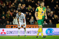 Ashley Williams of Swansea City looks dejected at full-time during the Barclays Premier League match between Norwich City and Swansea City played at Carrow Road, Norwich on November 7th 2015