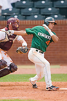Stephen Perez #4 of the Miami Hurricanes follows through on his swing against the Boston College Eagles at the 2010 ACC Baseball Tournament at NewBridge Bank Park May 27, 2010, in Greensboro, North Carolina.  The Eagles defeated the Hurricanes 12-10 in 10 innings.  Photo by Brian Westerholt / Four Seam Images