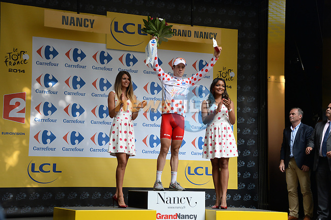 Cyril Lemoine (FRA) Cofidis in the climber's Polka Dot Jersey at the end of Stage 7 of the 2014 Tour de France running 234.5km from Epernay to Nancy. 11th July 2014.<br /> Photo ASO/X.Bourgois/www.newsfile.ie