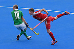 ENG - London, England, August 29: During the men bronze medal match between Ireland (green) and England (red) on August 29, 2015 at Lee Valley Hockey and Tennis Centre, Queen Elizabeth Olympic Park in London, England. Final score 4-2 (2-2). (Photo by Dirk Markgraf / www.265-images.com) *** Local caption *** Peter CARUTH #13 of Ireland, Sam WARD #13 of England