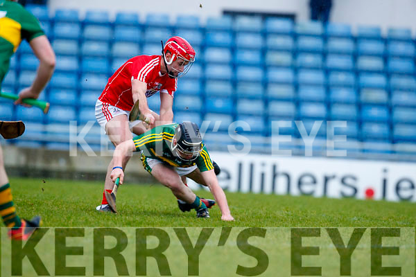 Maurice O'Connor Kerry  in action against Greg Murphy Cork in the Co-op Superstores Munster Senior Hurling League on Sunday 14th January in Austin Stack Park, Tralee.