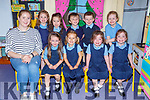 Junior Infants fromCAstledrum NS CAstlemaine with their acting class teacher Fiona Tormey on their first day of school on Wednesday