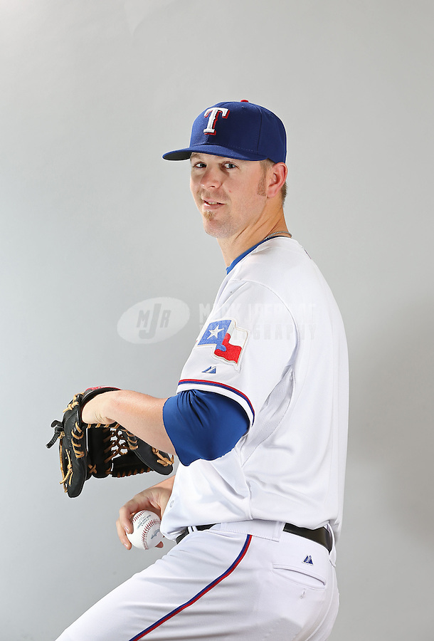 Feb. 20, 2013; Surprise, AZ, USA: Texas Rangers pitcher Justin Miller poses for a portrait during photo day at Surprise Stadium. Mandatory Credit: Mark J. Rebilas-