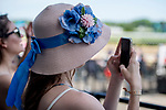 June 8, 2019 : A woman wears a hat on Belmont Stakes Festival Saturday at Belmont Park in Elmont, New York. Scott Serio/Eclipse Sportswire/CSM