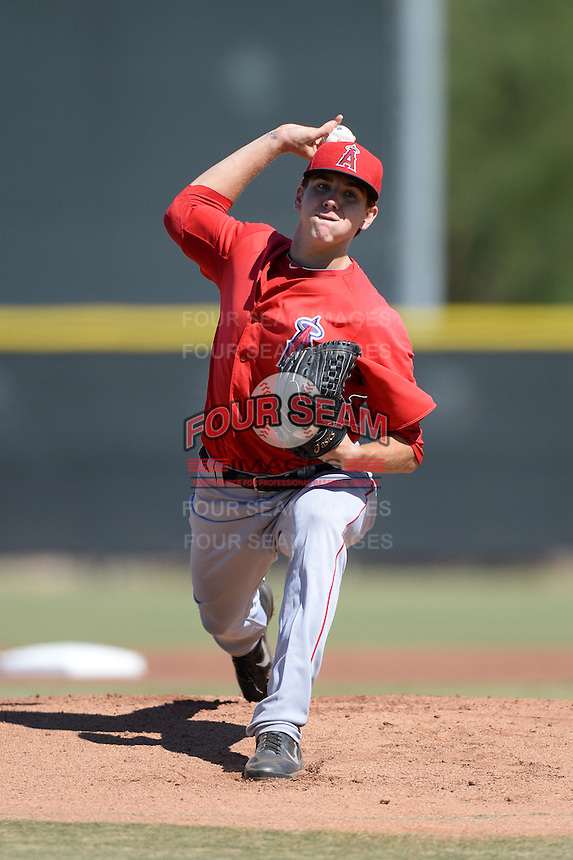Los Angeles Angels pitcher Michael Clevinger (59) during an Instructional League game against the Milwaukee Brewers on October 11, 2013 at Tempe Diablo Stadium Complex in Tempe, Arizona.  (Mike Janes/Four Seam Images)