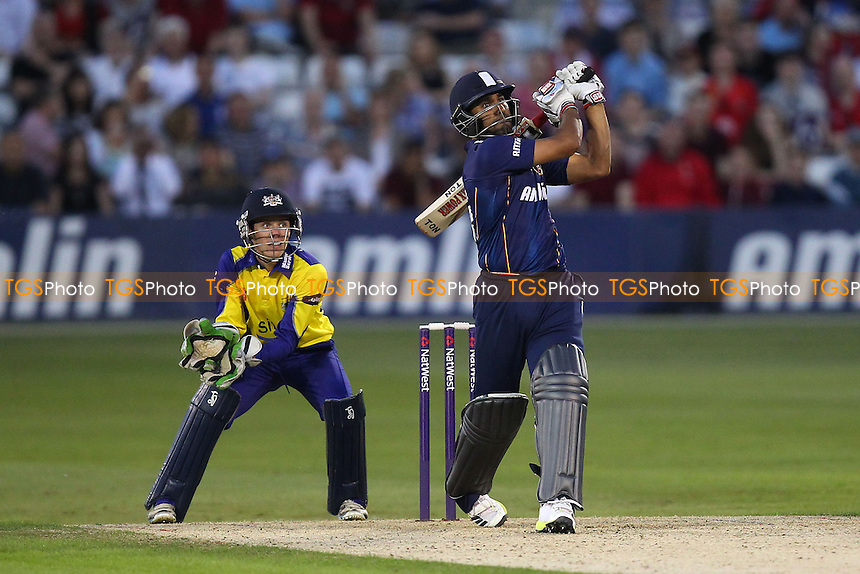 Six runs for Ravi Bopara of Essex as Cameron Herring looks on - Essex Eagles vs Gloucestershire CCC - NatWest T20 Blast Cricket at the Essex County Ground, Chelmsford - 13/06/14 - MANDATORY CREDIT: Gavin Ellis/TGSPHOTO - Self billing applies where appropriate - 0845 094 6026 - contact@tgsphoto.co.uk - NO UNPAID USE