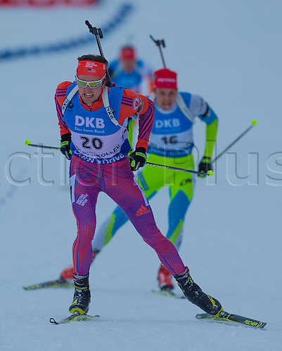 05.03.2016. Oslo Holmenkollen, Oslo, Norway. IBU Biathlon World Championships. Sean Doherty of United States competes in the men 10km sprint competition during the IBU World Championships Biathlon in Holmenkollen Oslo, Norway.