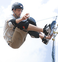 Slug: Six Flags/Hawk Tour.Date: 07-09-2006.Photographer: Mark Finkenstaedt .Location:  Six Flags America Theme Park,  Landover. MD .Caption:  Six Flags America Tony Hawk Tour, Action and Crowd Scenes..Photographer grants Six Flags America rights to the images for use in its PR and Media outreach for the 2006/7 season only.  License does not include any archiving or file photo use after the license period/usage. No sales, transfer, 3rd party loans or archiving