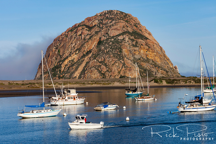 Morning light on Morro Rock overlooking Morro Bay along California's Central Coast.