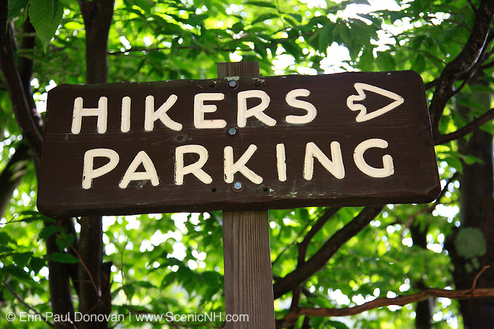 Hikers Parking sign in Franconia Notch State Park in the White Mountains, New Hampshire.