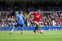 Pictured: Angel Rangel runs at Chelsea defender Ashley Cole <br />