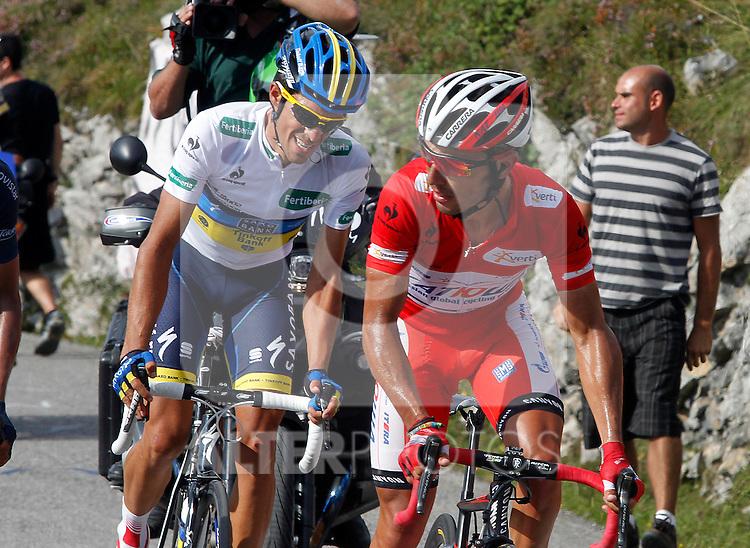 Alberto Contador and Joaquin Purito Rodriguez (r) during the stage of La Vuelta 2012 between La Robla and Lagos de Covadonga.September 2,2012. (ALTERPHOTOS/Paola Otero)