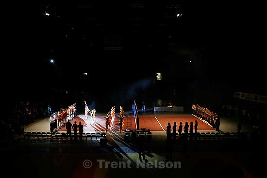 flag ceremony, national anthem, and overalls of state volleyball championship at UVSC.<br />