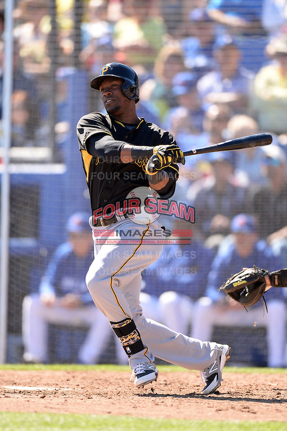Outfielder Starling Marte (6) of the Pittsburgh Pirates during a spring training game against the Toronto Blue Jays on February 28, 2014 at Florida Auto Exchange Stadium in Dunedin, Florida.  Toronto defeated Pittsburgh 4-2.  (Mike Janes/Four Seam Images)