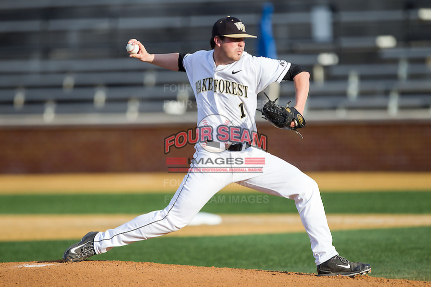 Wake Forest Demon Deacons starting pitcher Matt Pirro (1) delivers a pitch to the plate against the High Point Panthers at Wake Forest Baseball Park on April 2, 2014 in Winston-Salem, North Carolina.  The Demon Deacons defeated the Panthers 10-6.  (Brian Westerholt/Four Seam Images)