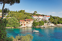 Houses at the port of Fiskardo in Kefalonia island, Greece