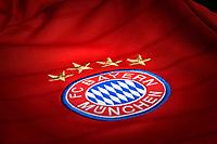 26.03.2018,  Football 1.Liga 2017/2018,  FC Bayern Muenchen, Detailaufnahme, Logo des FCB auf einem aktuellen Trikot, and den vier Sternen. *** Local Caption *** © pixathlon