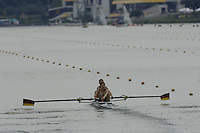 Poznan, POLAND.  2006, FISA, Rowing, World Cup, GER W2-, Bow  Nicole  ZIMMERMANN  and Kate HIPLER, moves  away from  the  start, on the Malta  Lake. Regatta Course, Poznan, Thurs. 15.05.2006. © Peter Spurrier   .[Mandatory Credit Peter Spurrier/ Intersport Images] Rowing Course:Malta Rowing Course, Poznan, POLAND