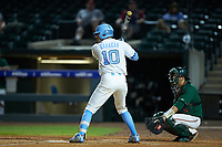 Zack Gahagan (10) of the North Carolina Tar Heels at bat against the Miami Hurricanes in the second semifinal of the 2017 ACC Baseball Championship at Louisville Slugger Field on May 27, 2017 in Louisville, Kentucky. The Tar Heels defeated the Hurricanes 12-4. (Brian Westerholt/Four Seam Images)