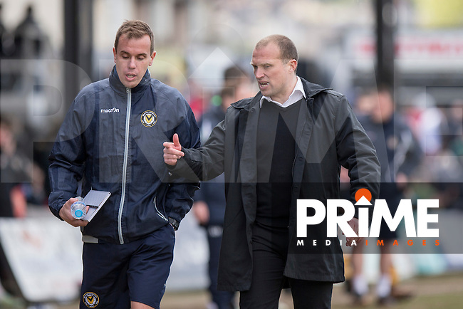 Newport County manager Warren Feeney leaves the field at full time of the Sky Bet League 2 match between Newport County and Notts County at Rodney Parade, Newport, Wales on 30 April 2016. Photo by Mark  Hawkins / PRiME Media Images.
