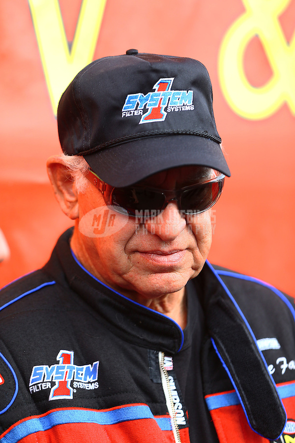 Feb 26, 2017; Chandler, AZ, USA; NHRA top fuel driver Steve Faria during the Arizona Nationals at Wild Horse Pass Motorsports Park. Mandatory Credit: Mark J. Rebilas-USA TODAY Sports