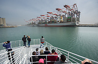 Occidental College students in Professor Jesse Mora's economics class, Econ 352: Firm-Level International Trade and Investment, take a tour of the Port of Long Beach on March 31, 2018. The group learned about the busy shipping port, which is next to the Port of Los Angeles.<br /> (Photo by Marc Campos, Occidental College Photographer)