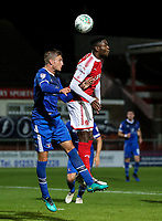 Fleetwood Town's Devante Cole competing in the air with Carlisle United's Gary Liddle  <br /> <br /> Photographer Andrew Kearns/CameraSport<br /> <br /> The Carabao Cup First Round - Fleetwood Town v Carlisle United Kingdom - Tuesday 8th August 2017 - Highbury Stadium - Fleetwood<br />  <br /> World Copyright &copy; 2017 CameraSport. All rights reserved. 43 Linden Ave. Countesthorpe. Leicester. England. LE8 5PG - Tel: +44 (0) 116 277 4147 - admin@camerasport.com - www.camerasport.com