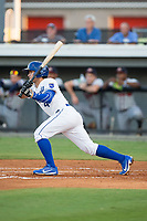 Jose Marquez (4) of the Burlington Royals follows through on his swing against the Danville Braves at Burlington Athletic Stadium on August 12, 2017 in Burlington, North Carolina.  The Braves defeated the Royals 5-3.  (Brian Westerholt/Four Seam Images)