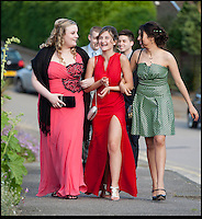 BNPS.co.uk (01202) 558833<br /> Picture: Peter Willows<br /> <br /> **exclusive/not online**<br /> <br /> Isabelle Papandronicou is accompanied by her friends to the prom (front l-r) Emily Oakley, Isabelle, Valentina Quintero (back) boyfriend Rhys Lewis, Fernando Gill<br /> <br /> Teenage amputee Isabelle Papandronicou has got a new prosthetic leg that has enabled her to wear heels for the first time, just in time for her school prom. Isabelle (15) from Barnet, London, chose to have her right leg amputated last year after several operations to fix a rare bone condition did not work. She has been wearing an NHS limb since then but has been limited to just flat shoes. After hearing about lifelike prosthetics that can be shaped to fit inside heeled footwear, her family started fundraising to get Isabelle a new leg. She has now been fitted with the &pound;5,633 leg by Dorset Orthopaedic in Ringwood, Hampshire, which she showcased at her year 11 leaver's ball.