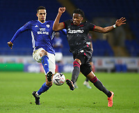 4th February 2020; Cardiff City Stadium, Cardiff, Glamorgan, Wales; English FA Cup Football, Cardiff City versus Reading; Robert Glatzel of Cardiff City and Gabriel Osho of Reading challenge for the ball