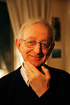 Michael Edwards, professor of English and French literature in Paris. He is a candidate for the Academie Francaise, February 2008. If he wins this, he will the first ever English person to hold this title.///Portrait of Professor Michael Edwards with hand