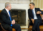 United States President Barack Obama, right, welcomes Prime Minister Benjamin Netanyahu, left, to the Oval Office of the White House in Washington, D.C. on Monday, March 5, 2012.  .Credit: Ron Sachs / CNP
