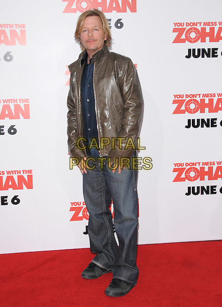 "DAVID SPADE .The Columbia Pictures' World Premiere of ""You Don't Mess with the Zohan"" held at The Chinese Theatre in Hollywood, California, USA..May 28th, 2008        .full length jeans denim brown leather jacket .CAP/DVS.©Debbie VanStory/Capital Pictures."