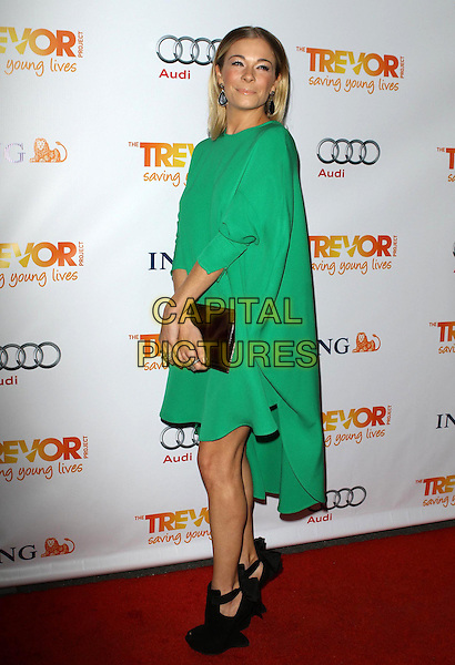 LeAnn Rimes.Trevor Live at The Hollywood Palladium in Hollywood, California, USA..December 4th, 2011.full length dress green clutch bag ankle boots shoes black peep toe side .CAP/ADM/KB.©Kevan Brooks/AdMedia/Capital Pictures.