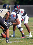 Palos Verdes, CA 09/25/15 - Keyahn Pinkston (Lawndale #55) and Chris Murray (Lawndale #12) in action during the Lawndale - Palos Verdes Peninsula Varsity football game at Peninsula High School.