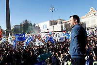 Matteo Salvini, leader of Lega Nord party and Minister of Internal Affairs on the stage and in the background the crowd<br /> Rome December 8th 2018. Rally of Lega Nord Party 'Italians first' in Piazza del Popolo.<br /> Foto Insidefoto