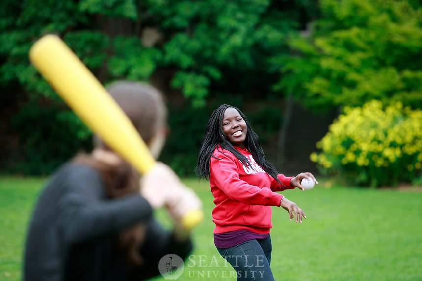 09222011 - Seattle University, Campus Life, The Green, playing wiffle ball while taking a break from the Lynn Collegium, f