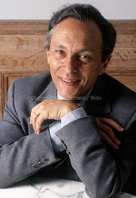 Jean Starobinski, Swiss writer during portrait session held on October 18, 1989 in Paris, France.