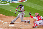 4 April 2014: Atlanta Braves right fielder Jason Heyward at bat in the 5th inning of the Washington Nationals Home Opening Game at Nationals Park in Washington, DC. The Braves edged out the Nationals 2-1 in their first meeting of the 2014 MLB season. Mandatory Credit: Ed Wolfstein Photo *** RAW (NEF) Image File Available ***