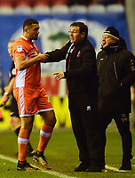 Blackpool's Colin Daniel is spoken to by manager Gary Bowyer <br /> <br /> Photographer Richard Martin-Roberts/CameraSport<br /> <br /> The EFL Sky Bet League One - Wigan Athletic v Blackpool - Tuesday 13th February 2018 - DW Stadium - Wigan<br /> <br /> World Copyright &not;&copy; 2018 CameraSport. All rights reserved. 43 Linden Ave. Countesthorpe. Leicester. England. LE8 5PG - Tel: +44 (0) 116 277 4147 - admin@camerasport.com - www.camerasport.com